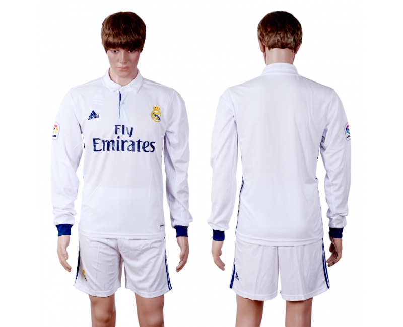 2016-2017 Real Madrid home blank long sleeve white soccer jerseys