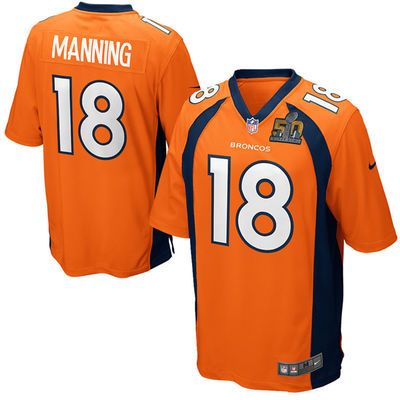 Mens Denver Broncos 18 Peyton Manning Nike Orange Super Bowl 50 Bound Game Jersey