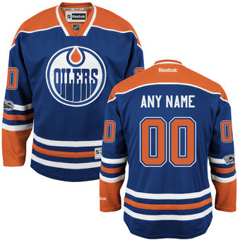 Mens Edmonton Oilers Reebok Royal Custom Home Centennial Patch Premier Jersey