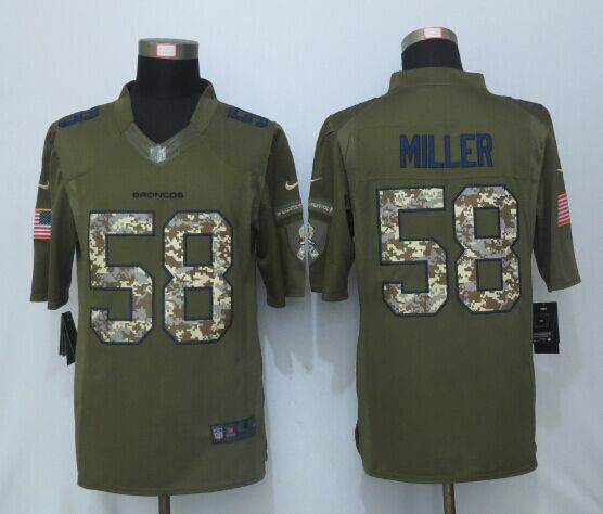 NEW Nike Denver Broncos 58 Miller Green Salute To Service Limited Jersey