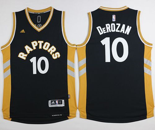 Toronto Raptors 10 Demar Derozan Black and Gold jersey