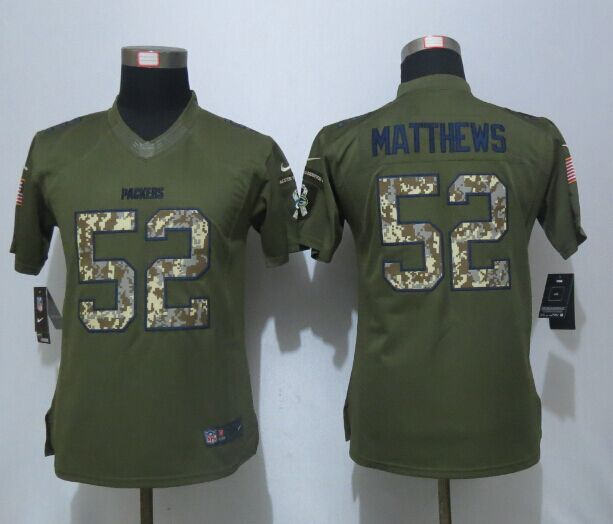 Women New Nike Green Bay Packers 52 Matthews Green Salute To Service Limited Jersey