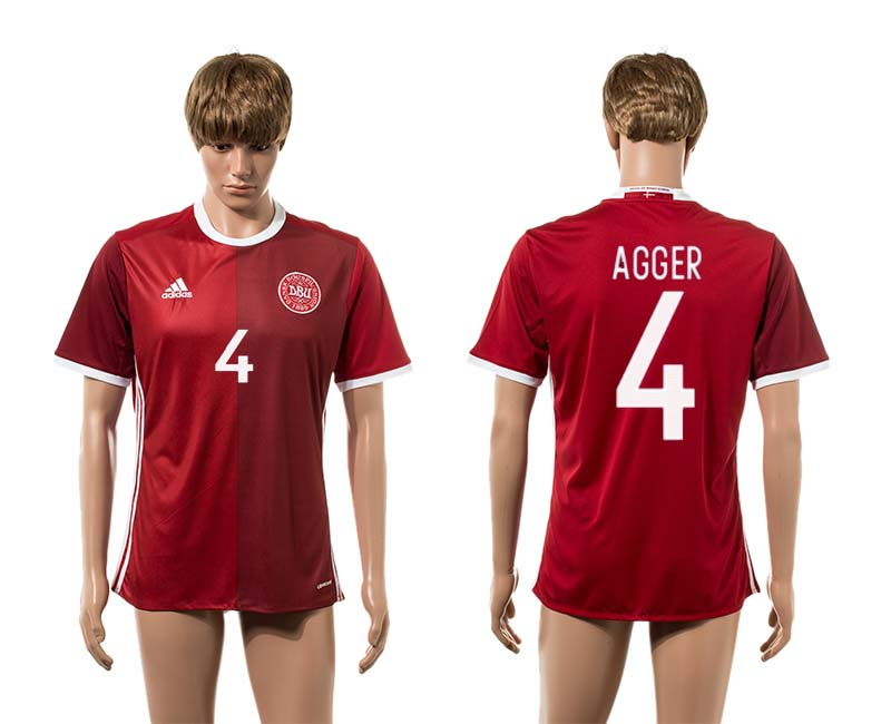 2016-2017 Denmark home 4 Agger red AAA+ soccer jerseys