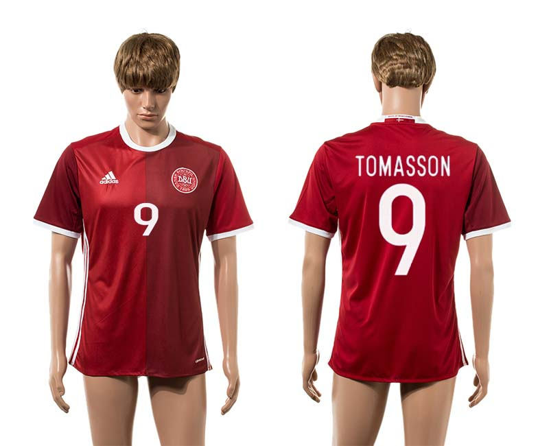 2016-2017 Denmark home 9 Tomasson red AAA+ soccer jerseys