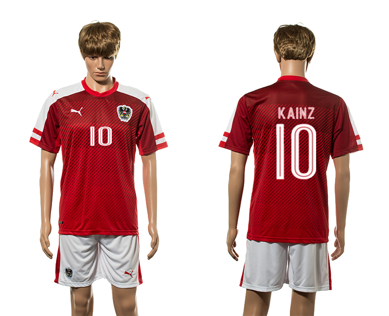 European Cup 2016 Austria home 10 Kainz red soccer jerseys