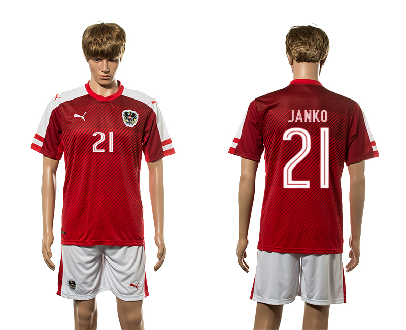 European Cup 2016 Austria home 21 Janko red soccer jerseys