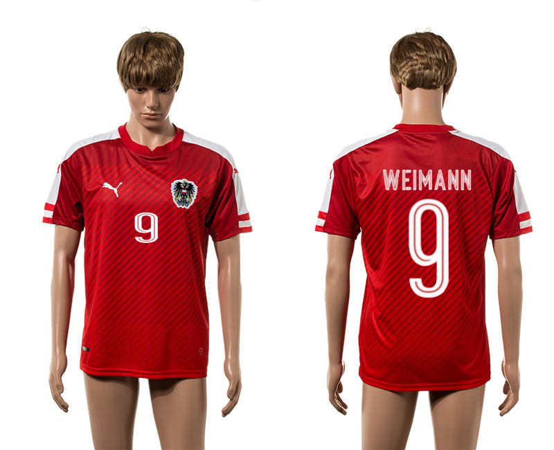 European Cup 2016 Austria home 9 Weimann red AAA+ soccer jerseys