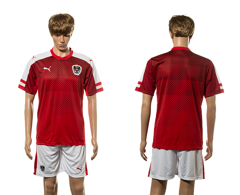 European Cup 2016 Austria home blank red soccer jerseys