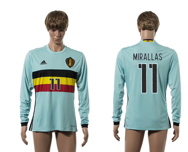 European Cup 2016 Belgium away 11 Mirallas blue long sleeve AAA+ soccer jerseys