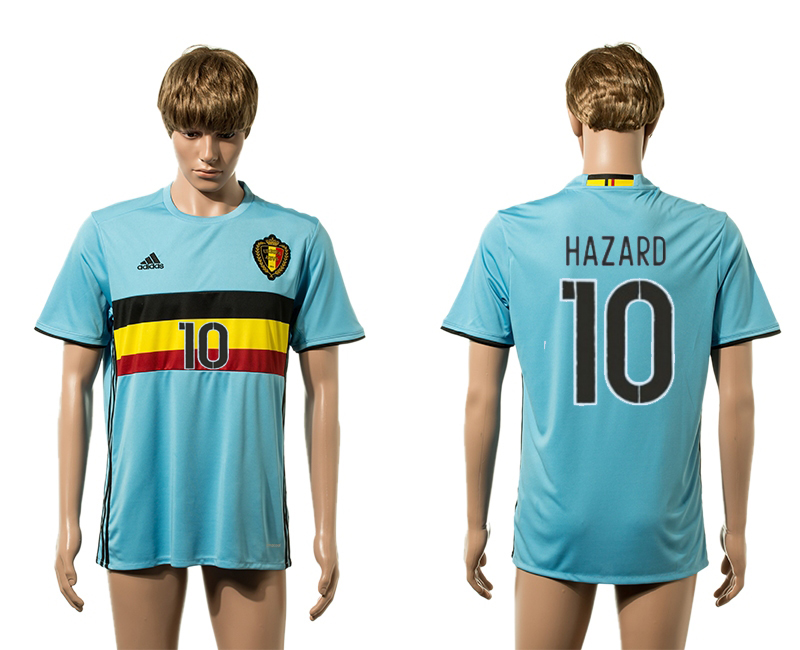 European Cup 2016 Belgium away 10 Hazard blue AAA+ soccer jerseys
