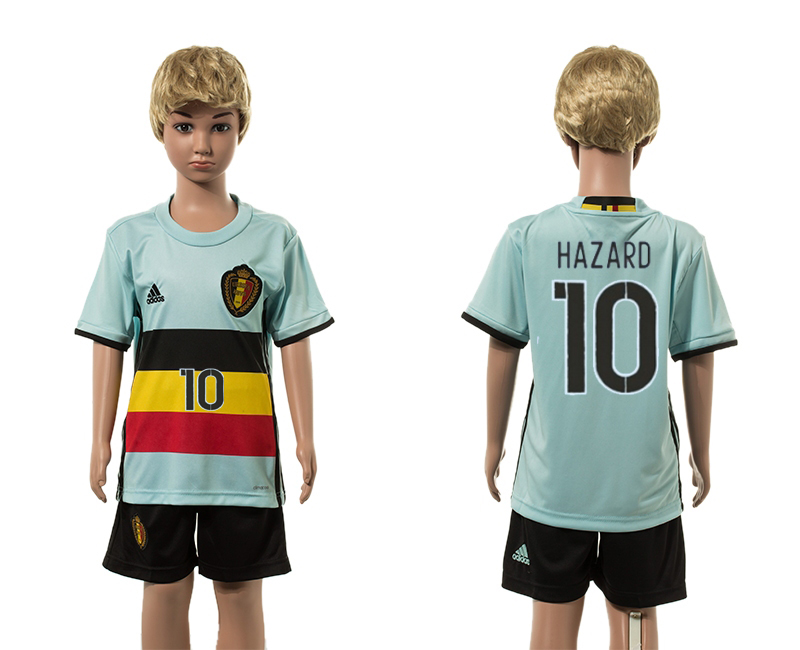 European Cup 2016 Belgium away 10 Hazard blue kids soccer jerseys