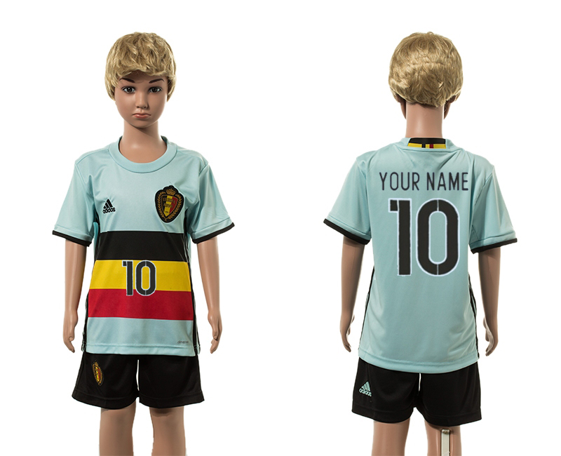 European Cup 2016 Belgium away 10 customized blue kids soccer jerseys