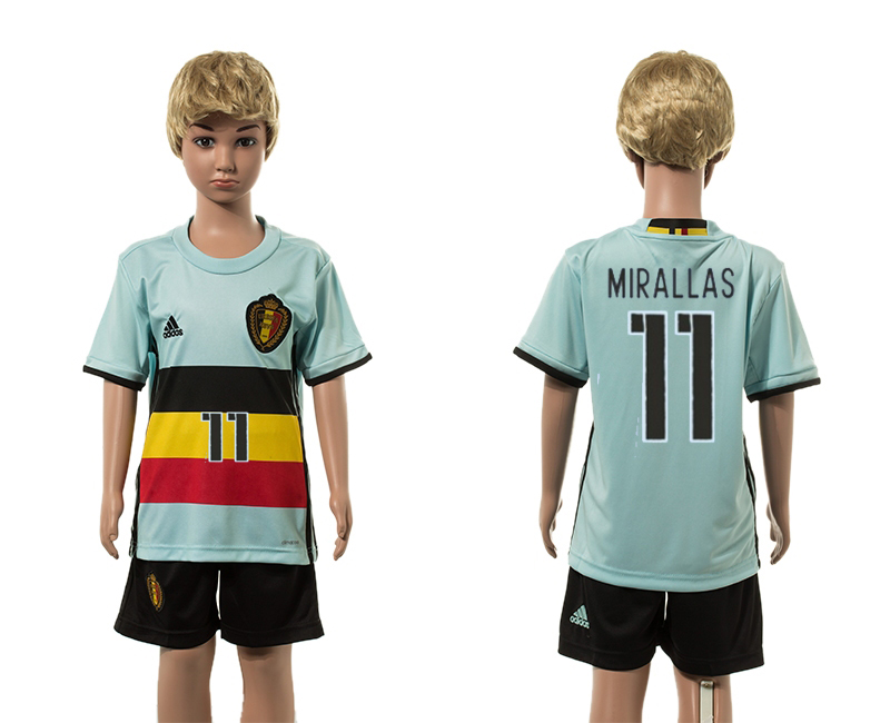 European Cup 2016 Belgium away 11 Mirallas blue kids soccer jerseys