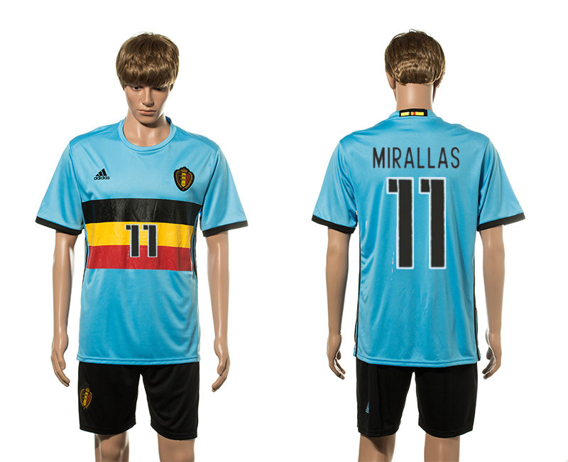 European Cup 2016 Belgium away 11 Mirallas soccer jerseys