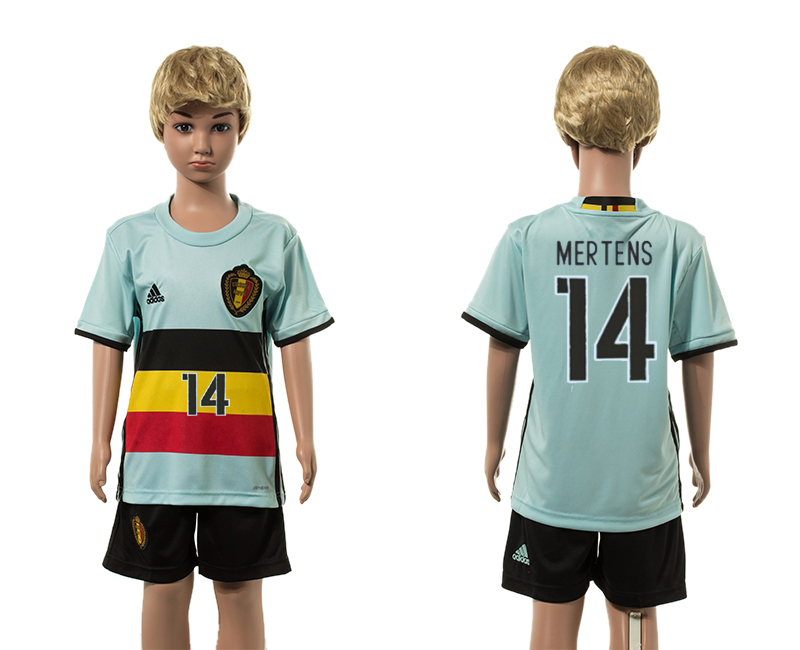 European Cup 2016 Belgium away 14 Mertens blue kids soccer jerseys