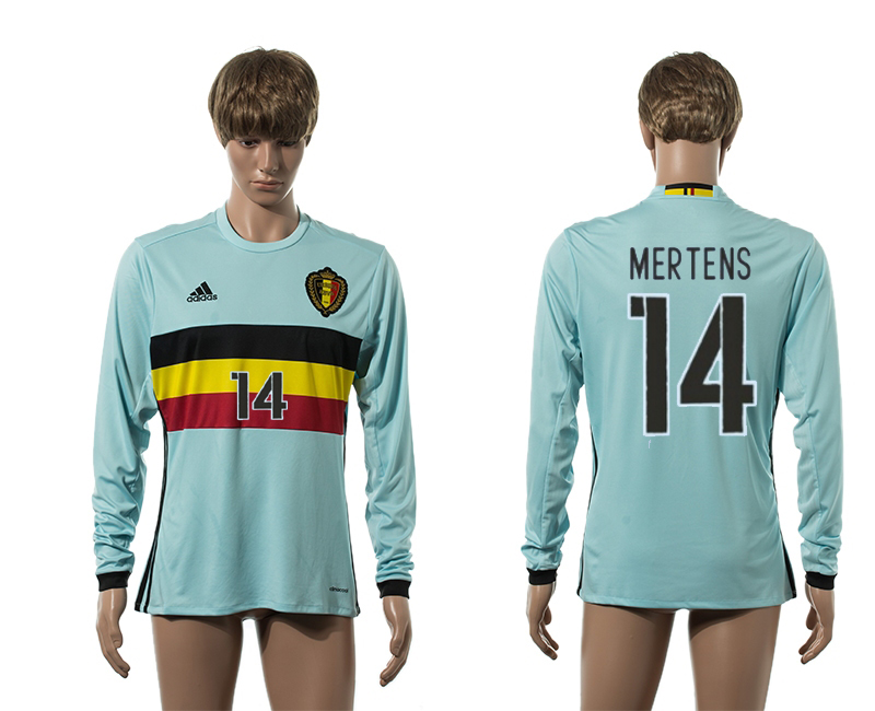 European Cup 2016 Belgium away 14 Mertens blue long sleeve AAA+ soccer jerseys