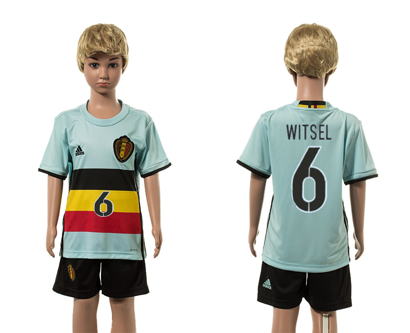 European Cup 2016 Belgium away 6 Witsel blue kids soccer jerseys