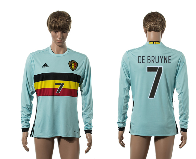 European Cup 2016 Belgium away 7 De Bruyne Blue long sleeve AAA+ soccer jerseys