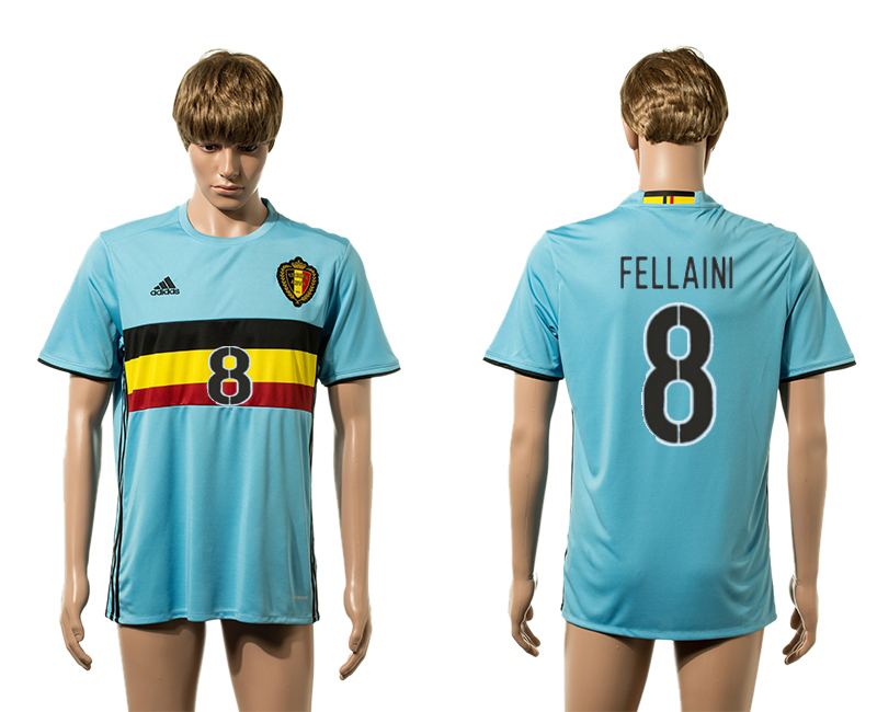European Cup 2016 Belgium away 8 Fellaini blue AAA+ soccer jerseys