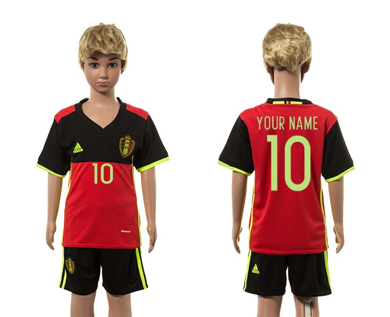 European Cup 2016 Belgium home 10 customized red kids soccer jerseys