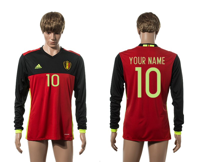 European Cup 2016 Belgium home 10 customized red long sleeve AAA+ soccer jerseys