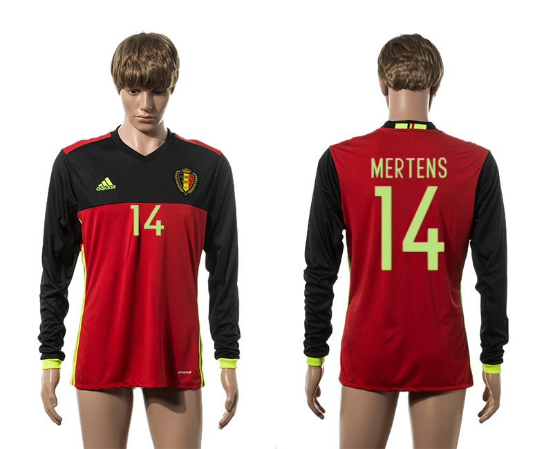 European Cup 2016 Belgium home 14 Mertens red long sleeve AAA+ soccer jerseys