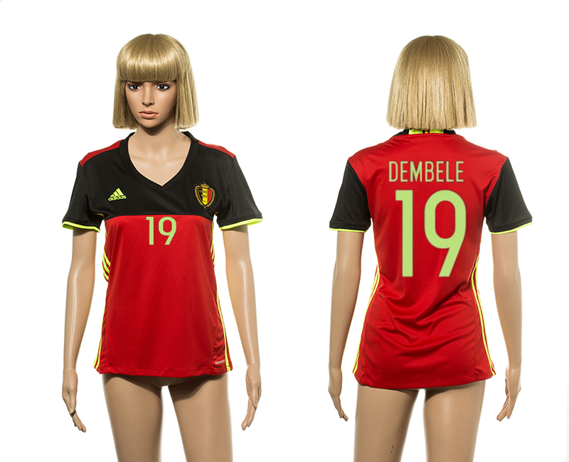 European Cup 2016 Belgium home 19 Dembele red Women soccer jerseys