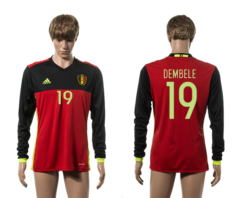 European Cup 2016 Belgium home 19 Demble red long sleeve AAA+ soccer jerseys