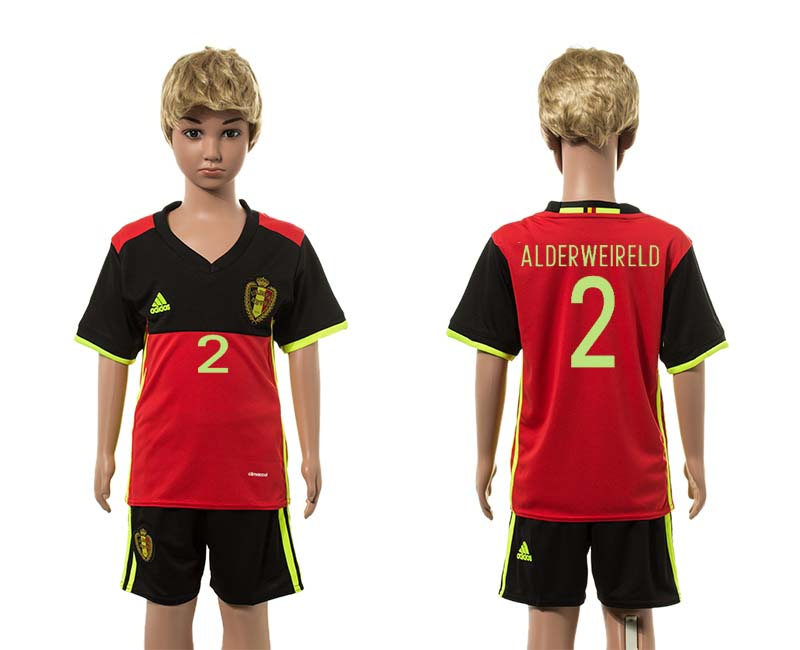 European Cup 2016 Belgium home 2 Alderweireld red kids soccer jerseys