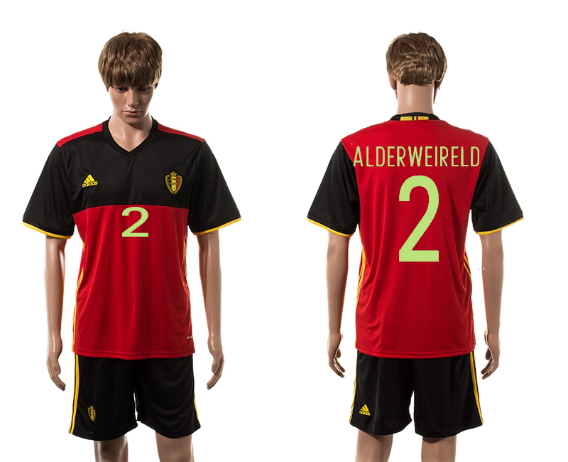European Cup 2016 Belgium home 2 Alderweireld red soccer jerseys