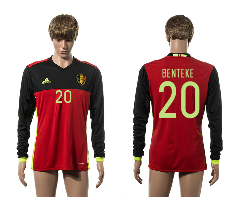 European Cup 2016 Belgium home 20 Benteke red long sleeve AAA+ soccer jerseys