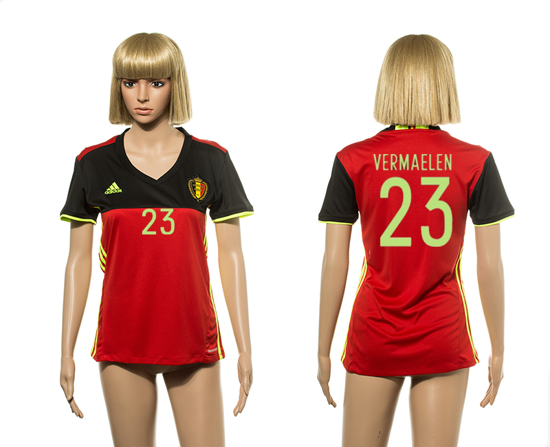 European Cup 2016 Belgium home 23 Vermaelen red Women soccer jerseys