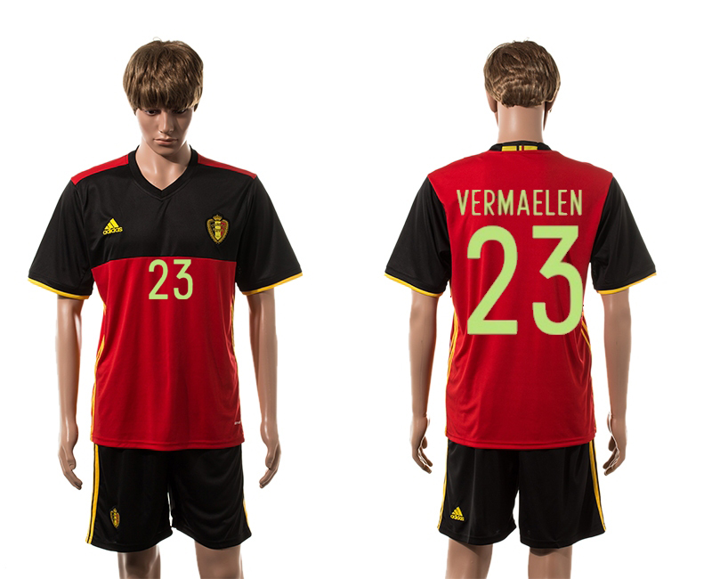 European Cup 2016 Belgium home 23 Vermaelen red soccer jerseys