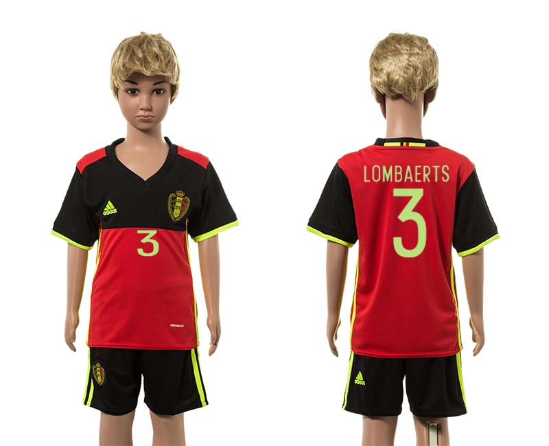 European Cup 2016 Belgium home 3 Lombaerts red kids soccer jerseys