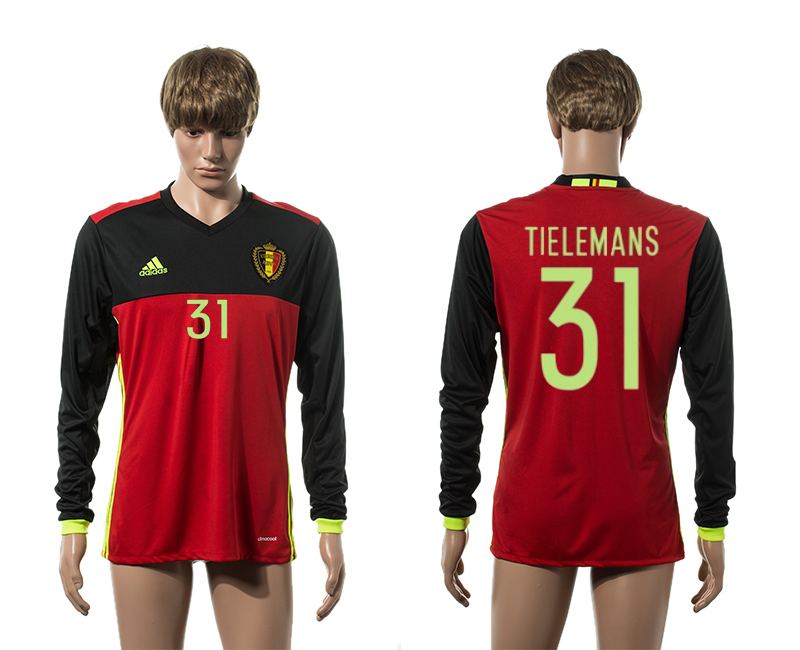 European Cup 2016 Belgium home 31 Tielemans red long sleeve AAA+ soccer jerseys
