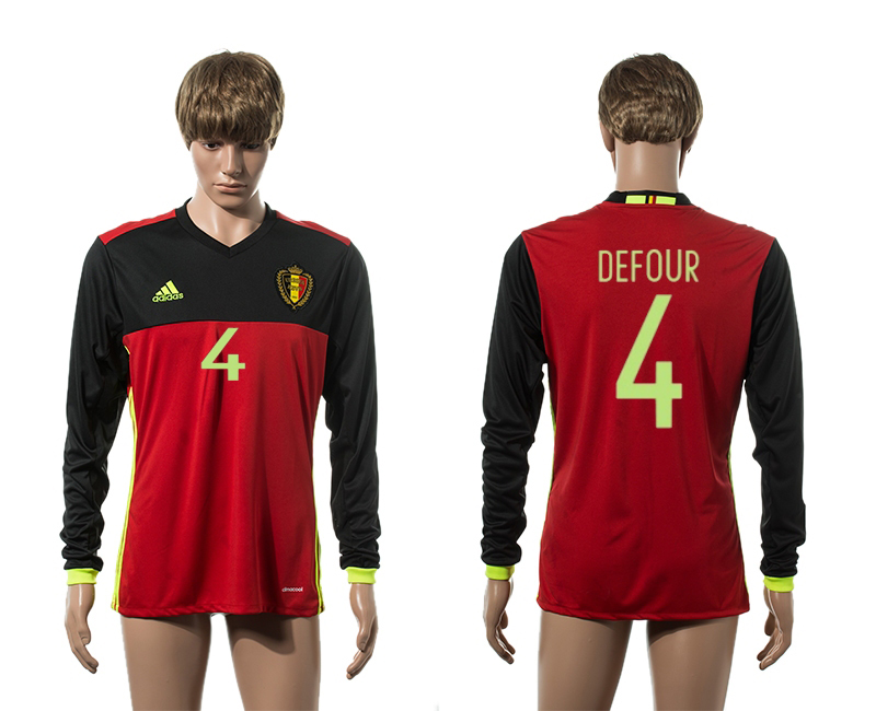 European Cup 2016 Belgium home 4 Defour red long sleeve AAA+ soccer jerseys