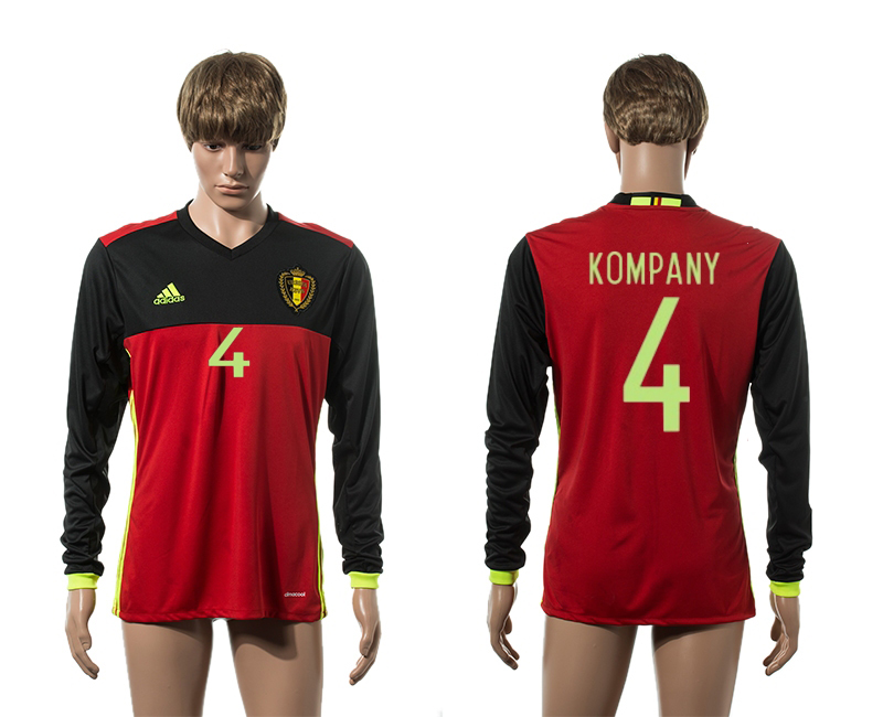 European Cup 2016 Belgium home 4 Kompany red long sleeve AAA+ soccer jerseys