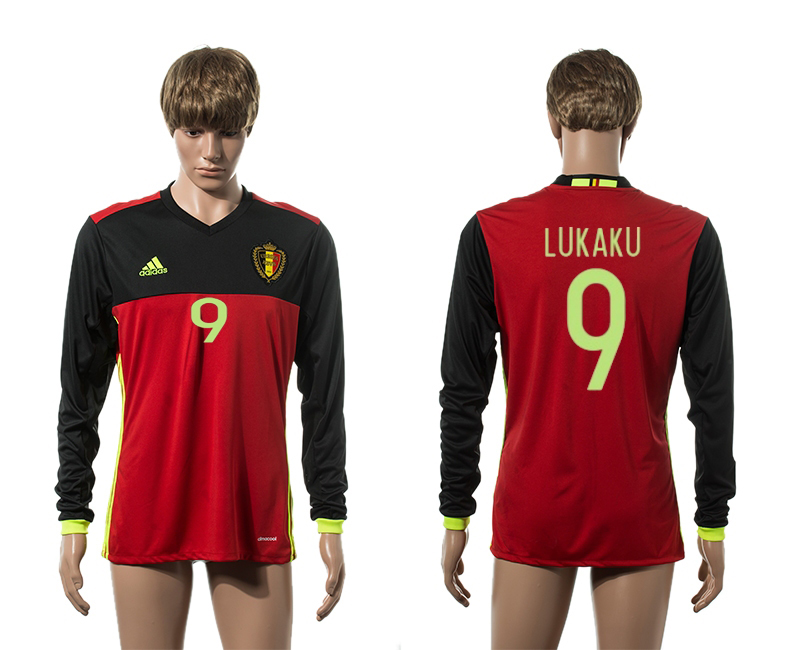 European Cup 2016 Belgium home 9 Lukaku red long sleeve AAA+ soccer jerseys