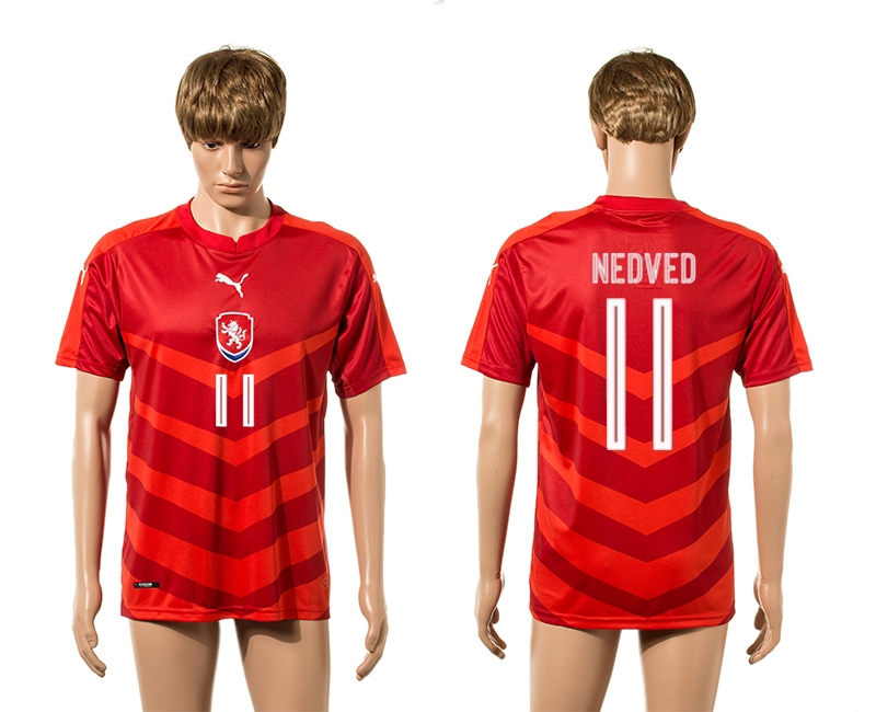 European Cup 2016 Czech Republic home 11 Nedved red AAA+ soccer jerseys