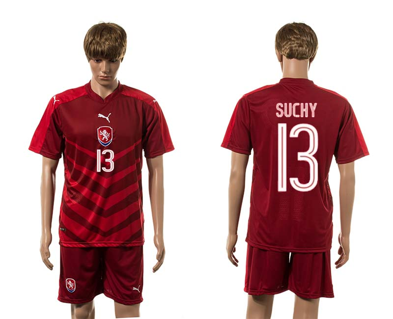 European Cup 2016 Czech Republic home 13 Suchy red soccer jerseys