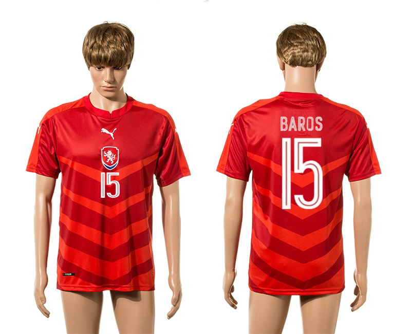 European Cup 2016 Czech Republic home 15 Baros red AAA+ soccer jerseys