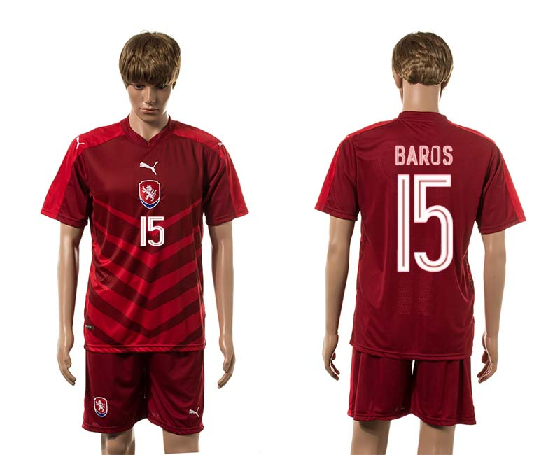 European Cup 2016 Czech Republic home 15 Baros red soccer jerseys