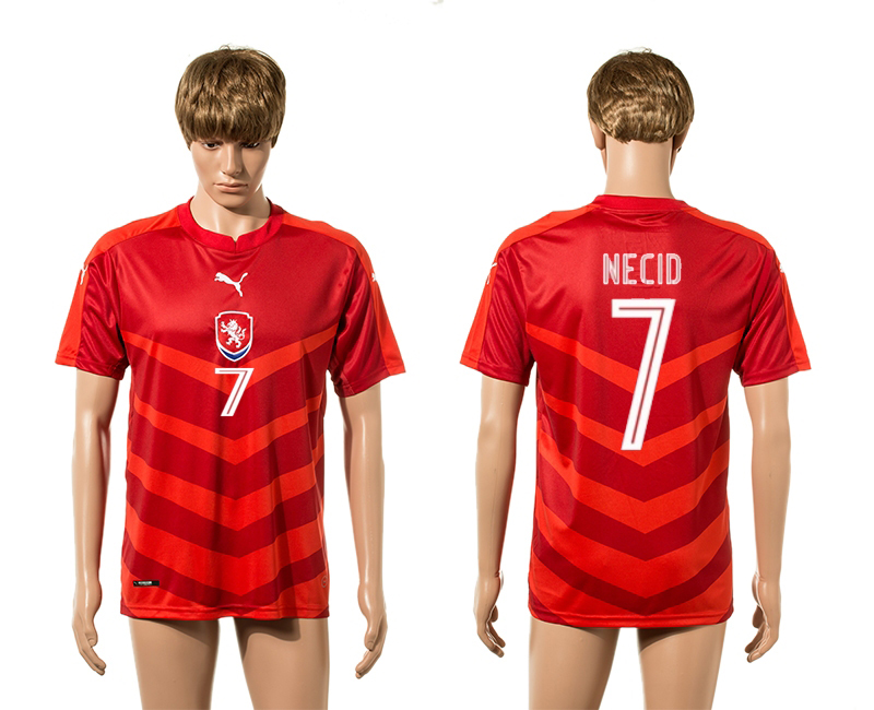 European Cup 2016 Czech Republic home 7 Necid red AAA+ soccer jerseys