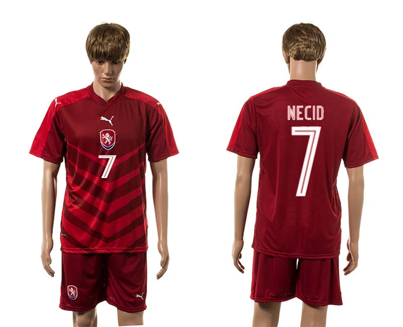 European Cup 2016 Czech Republic home 7 Necid red soccer jerseys