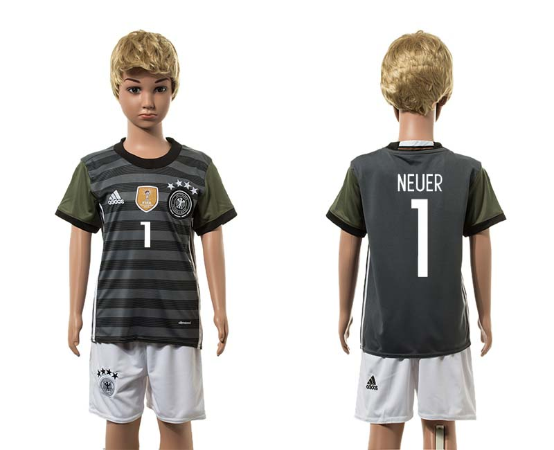 European Cup 2016 Germany away 1 Neuer grey kids soccer jerseys
