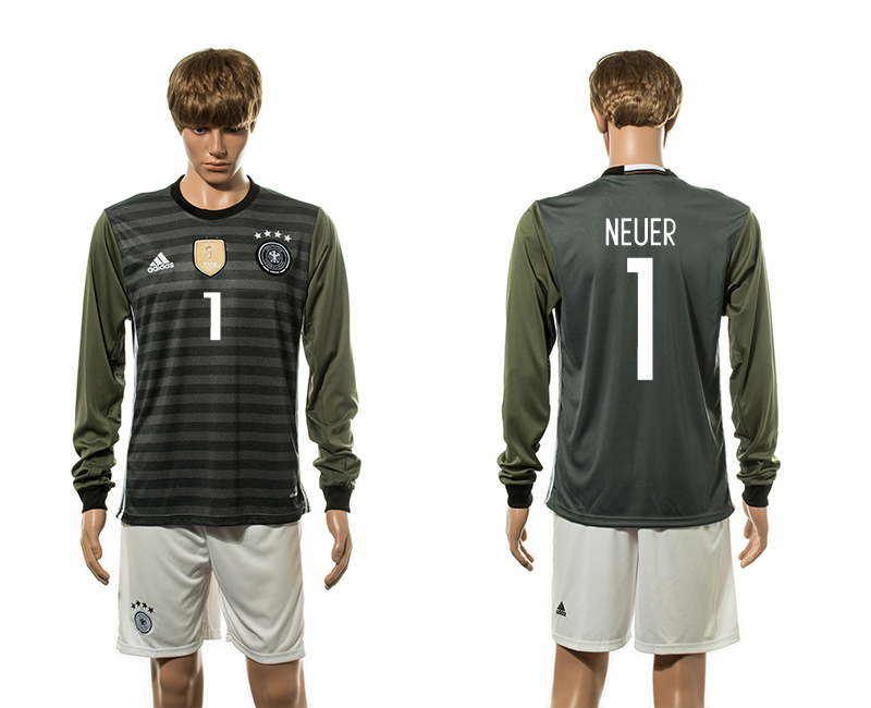 European Cup 2016 Germany away 1 Neuer long sleeve soccer jerseys