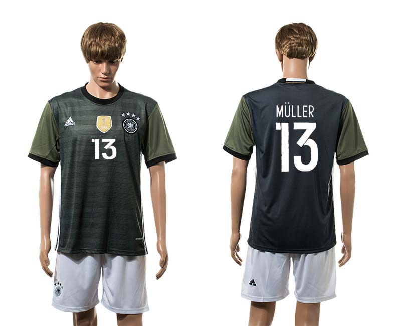 European Cup 2016 Germany away 13 Muller soccer jerseys