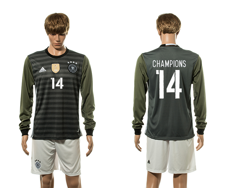 European Cup 2016 Germany away 14 Champions long sleeve soccer jerseys