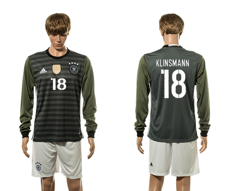 European Cup 2016 Germany away 18 Klinsmann long sleeve soccer jerseys