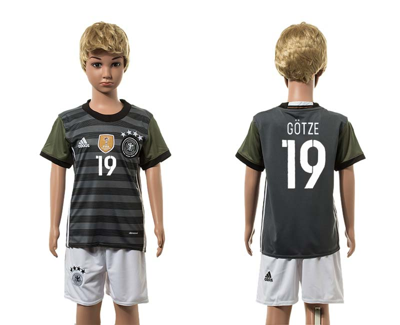 European Cup 2016 Germany away 19 Gotze grey kids soccer jerseys